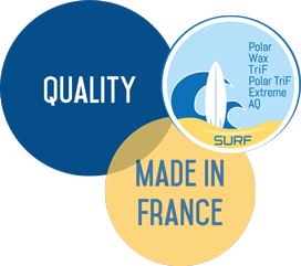 3 pastilles Quality, Made in France et logo Surf